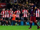 Inaki Williams celebrates with teammates during the Copa del Rey game between Barcelona and Athletic Bilbao on January 27, 2016
