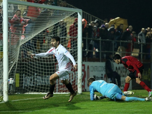 Sevilla's Ciro Immobile celebrates after scoring against Mirandes on January 28, 2016