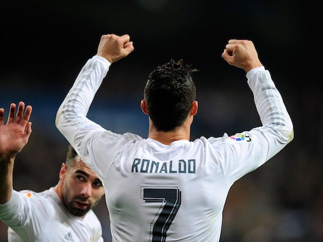 Cristiano Ronaldo celebrates scoring during the La Liga game between Real Madrid and Espanyol on January 31, 2016