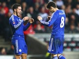Eden Hazard congratulates little Oscar during the FA Cup game between MK Dons and Chelsea on January 31, 2016