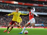 Fredrik Ulvestad and Mohamed Elneny in action during the FA Cup game between Arsenal and Burnley on January 30, 2016