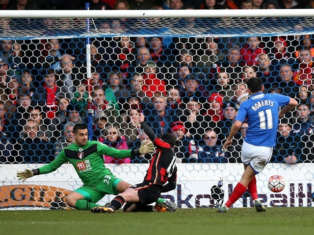 Gary Roberts of Portsmouth scores his team's first goal against Bournemouth at Fratton Park on January 30, 2016