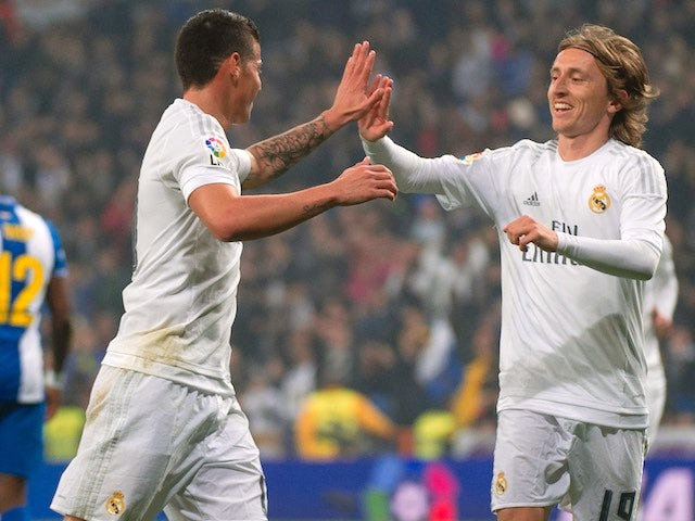 James Rodriguez and Luka Modric celebrate during the La Liga game between Real Madrid and Espanyol on January 31, 2016