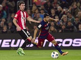 Luiz Suarez and Aymeric Laporte in action during the Copa del Rey game between Barcelona and Athletic Bilbao on January 27, 2016