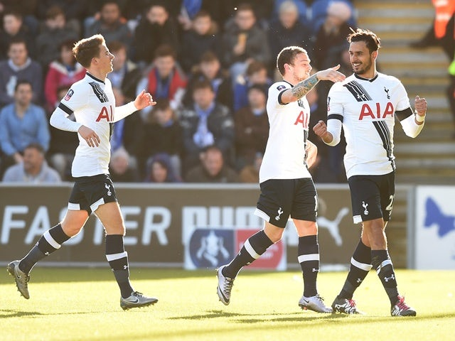 Nacer Chadli celebrates scoring during the FA Cup fourth-round match between Colchester United and Tottenham Hotspur on January 30, 2016