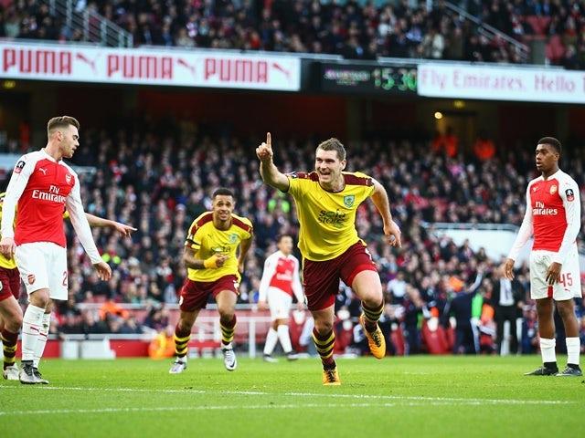 Sam Vokes of Burnley celebrates scoring his team's first goal against Arsenal on January 30, 2016