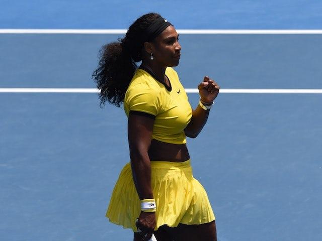 Serena Williams celebrates defeating Maria Sharapova in the quarter-finals of the Australian Open on January 26, 2016
