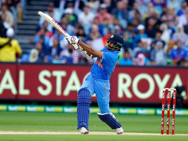 Shikhar Dhawan bats during the International Twenty20 match between Australia and India at Melbourne Cricket Ground on January 29, 2016