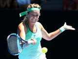 Victoria Azarenka plays an amusing forehand in her fourth-round match against Barbora Strycova during day eight of the 2016 Australian Open at Melbourne Park on January 25, 2016