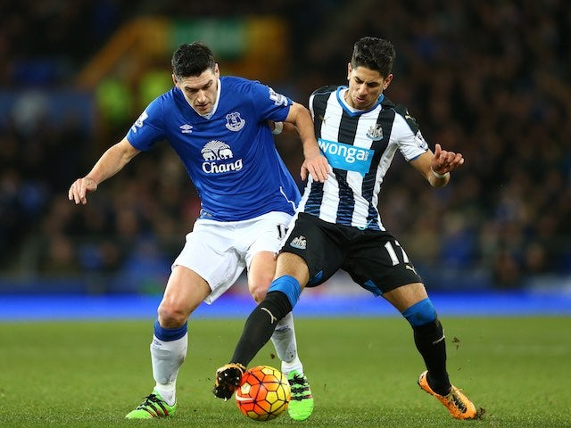 Prolific bouncer Ayoze Perez battles with Gareth Barry during the Premier League game between Everton and Newcastle on February 3, 2016