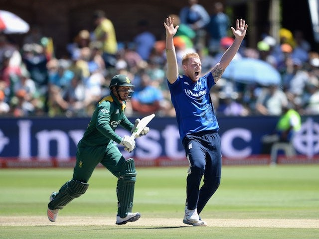 Ben Stokes crouches ever so slightly, raises both arms in the air and exhales forcefully during the second ODI between South Africa and England on February 6, 2016
