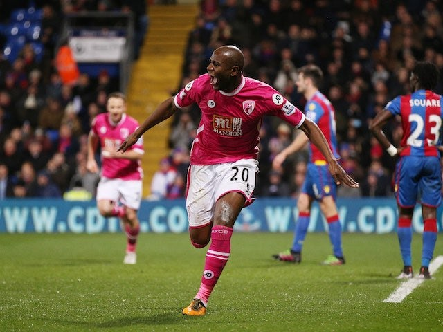 Benik Afobe celebrates scoring during the Premier League game between Crystal Palace and Bournemouth on February 2, 2016