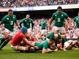 Conor Murray scores the opening try during the Six Nations game between Ireland and Wales on February 7, 2016