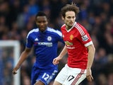 Daley Blind and John Obi Mikel in action during the Premier League game between Chelsea and Manchester United on February 7, 2016