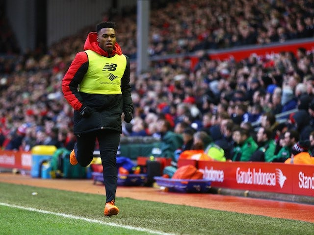 Daniel Sturridge warms up during the Premier League game between Liverpool and Sunderland on February 6, 2016