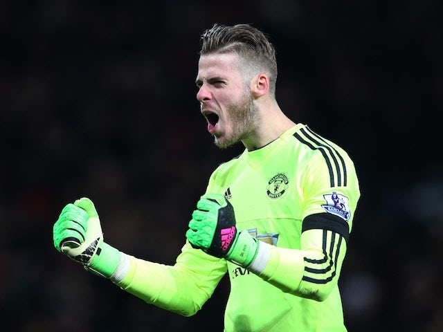 David de Gea is loving life during the Premier League game between Manchester United and Stoke on February 2, 2016