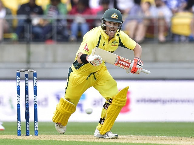 David Warner of Australia in action against New Zealand at Westpac Stadium in Wellington on February 6, 2016