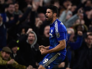 Diego Costa celebrates his late equaliser during the Premier League game between Chelsea and Manchester United on February 7, 2016
