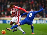 Glen Johnson and Bryan Oviedo compete for the ball during the Premier League match between Stoke City and Everton at Britannia Stadium on February 6, 2016