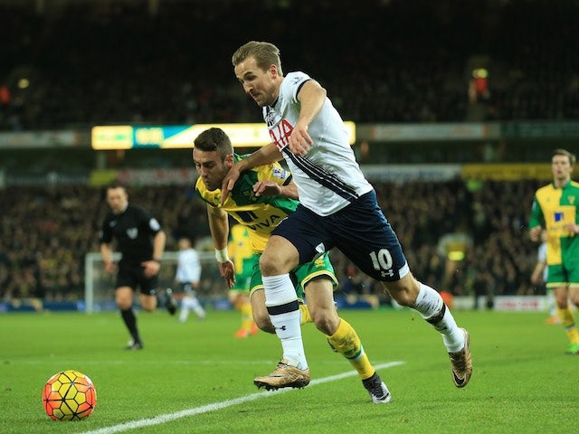 Harry Kane and Ivo Pinto in action during the Premier League game between Norwich and Spurs on February 2, 2016