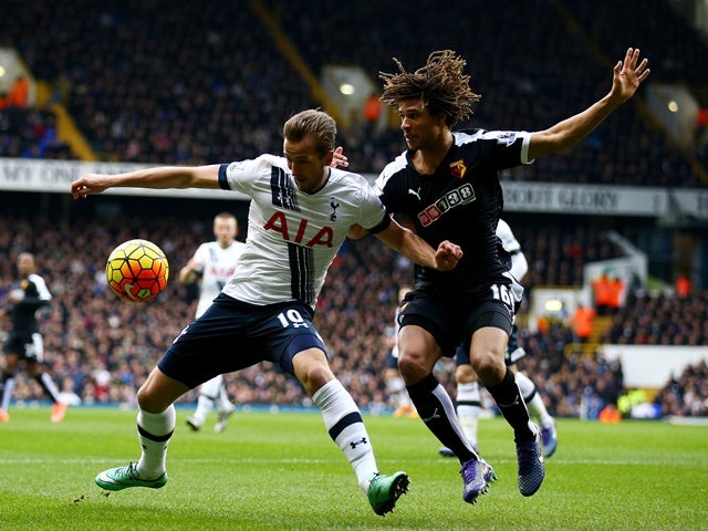 Harry Kane and Nathan Ake in action during the Premier League match between Tottenham Hotspur and Watford on February 6, 2016