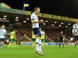 Harry Kane is a happy bouncing bunny after scoring his side's second from the penalty spot during the Premier League game between Norwich and Spurs on February 2, 2016