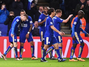 Jamie Vardy is congratulated by teammates after scoring the goal of the century during the Premier League game between Leicester and Liverpool on February 2, 2016