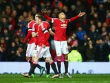 Jesse Lingard puffs his cheeks in celebration at scoring the opener during the Premier League game between Manchester United and Stoke on February 2, 2016