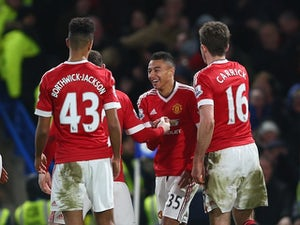 Jesse Lingard celebrates scoring during the Premier League game between Chelsea and Manchester United on February 7, 2016