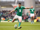 Jonny Sexton kicks during the Six Nations game between Ireland and Wales on February 7, 2016