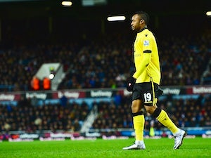 Jordan Ayew sees red during the Premier League game between West Ham and Aston Villa on February 2, 2016