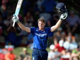 Jos Buttler celebrates his century during the first ODI between South Africa and England on February 3, 2016