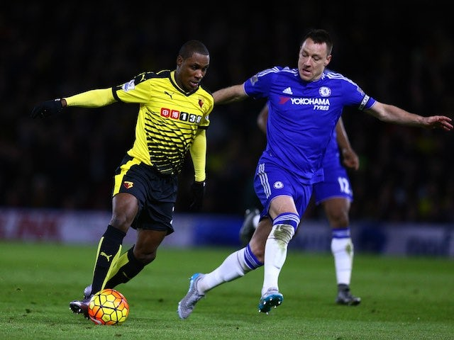 Odion Ighalo battles with ageing defender John Terry during the Premier League game between Watford and Chelsea on February 3, 2016