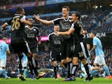 Robert Huth celebrates scoring during the Premier League game between Manchester City and Leicester City on February 6, 2016