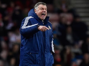 Sam Allardyce orders his half-time refreshments during the Premier League game between Sunderland and Manchester City on February 2, 2016