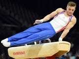 Sam Oldham competes in a qualifying round of the pommel horse event of the European Men's Artistic Gymnastics Championships on April 16, 2015