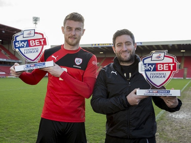 Barnsley's Sam Winnall and Lee Johnson pose with their player and manager of the month awards for January 2016