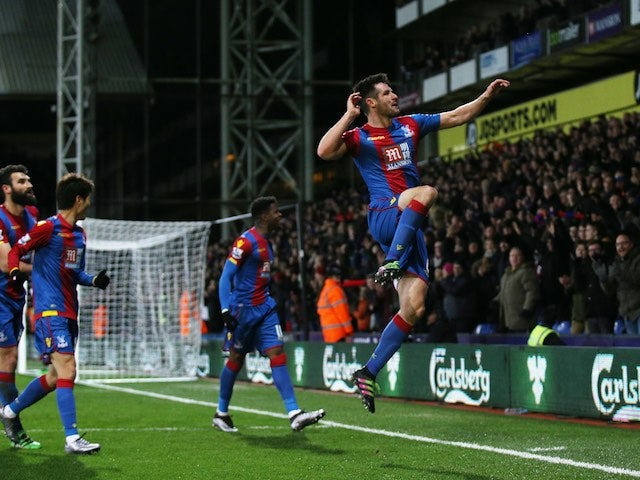 Scott Dann celebrates scoring during the Premier League game between Crystal Palace and Bournemouth on February 2, 2016