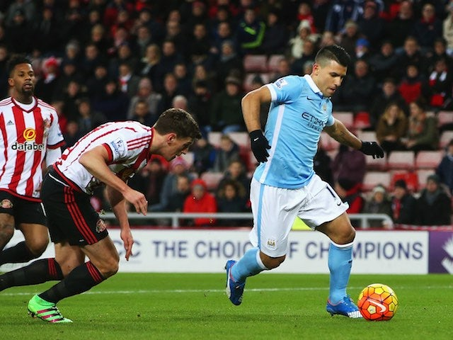 Sergio Aguero in action during the Premier League game between Sunderland and Manchester City on February 2, 2016
