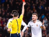 Shkodran Mustafi sees red during the Copa del Rey game between Barcelona and Valencia on February 3, 2016