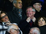 Sir Alex Ferguson watches on from the stands
