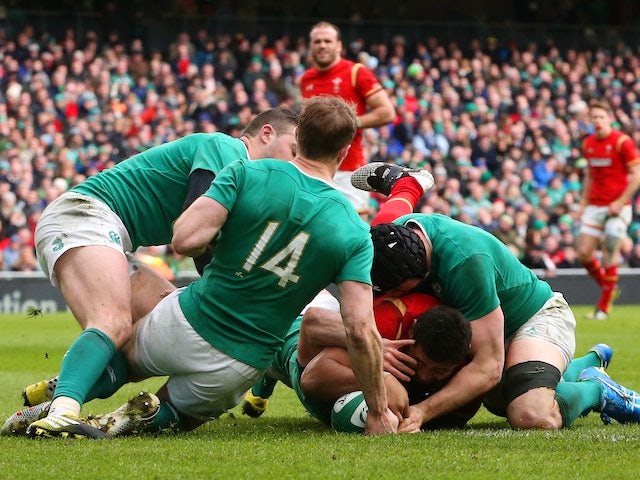 Taulupe TOBY Faletau scores during the Six Nations game between Ireland and Wales on February 7, 2016