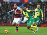 Youssouf Mulumbu and Gabriel Agbonlahor in action during the Premier League game between Aston Villa and Norwich City on February 6, 2016