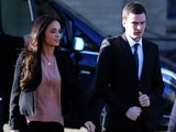 Adam Johnson and girlfriend Stacey Flounders arrive at court on February 10, 2016