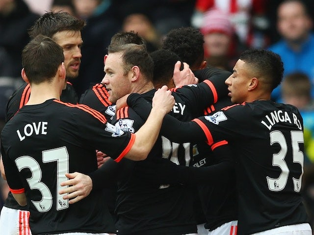 Anthony Martial is congratulated during the Premier League game between Sunderland and Manchester United on February 13, 2016