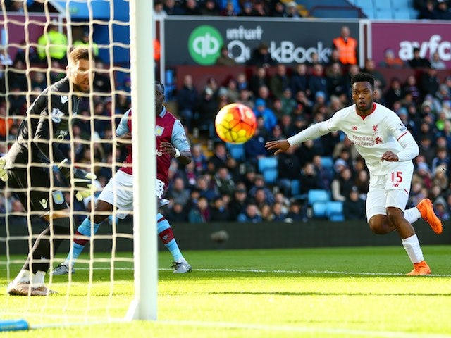 Daniel Sturridge scores the opener during the Premier League game between Aston Villa and Liverpool on February 14, 2016