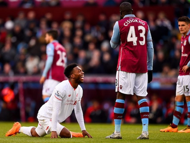Daniel Sturridge is having a laff during the Premier League game between Aston Villa and Liverpool on February 14, 2016