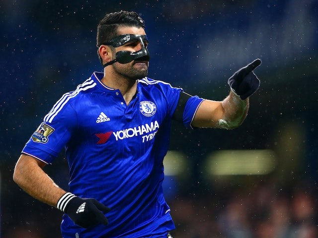 A terrifying Diego Costa celebrates scoring during the Premier League game between Chelsea and Newcastle United on February 13, 2016