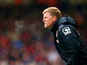 Eddie Howe has a nose during the Premier League game between Bournemouth and Stoke City on February 13, 2016