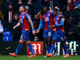 Emmanuel Adebayor celebrates scoring during the Premier League game between Crystal Palace and Watford on February 13, 2016
